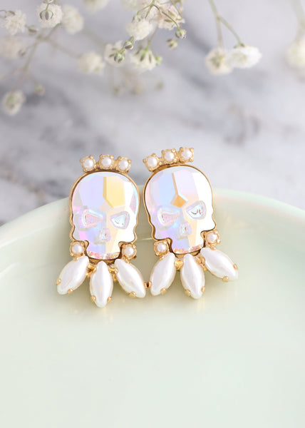 Skull Earrings, Bridal Gothic Crystal Earrings, Sugar Skull Stud Earrings, Gothic Bride Jewelry, Skull Bridal Earrings, Gift For Her