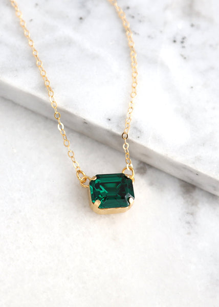 Emerald Necklace, Emerald Green Crystal Necklace, Dark Green Crystal Necklace, Emerald Cut Necklace, Bridesmaids Necklace, Gift For Her