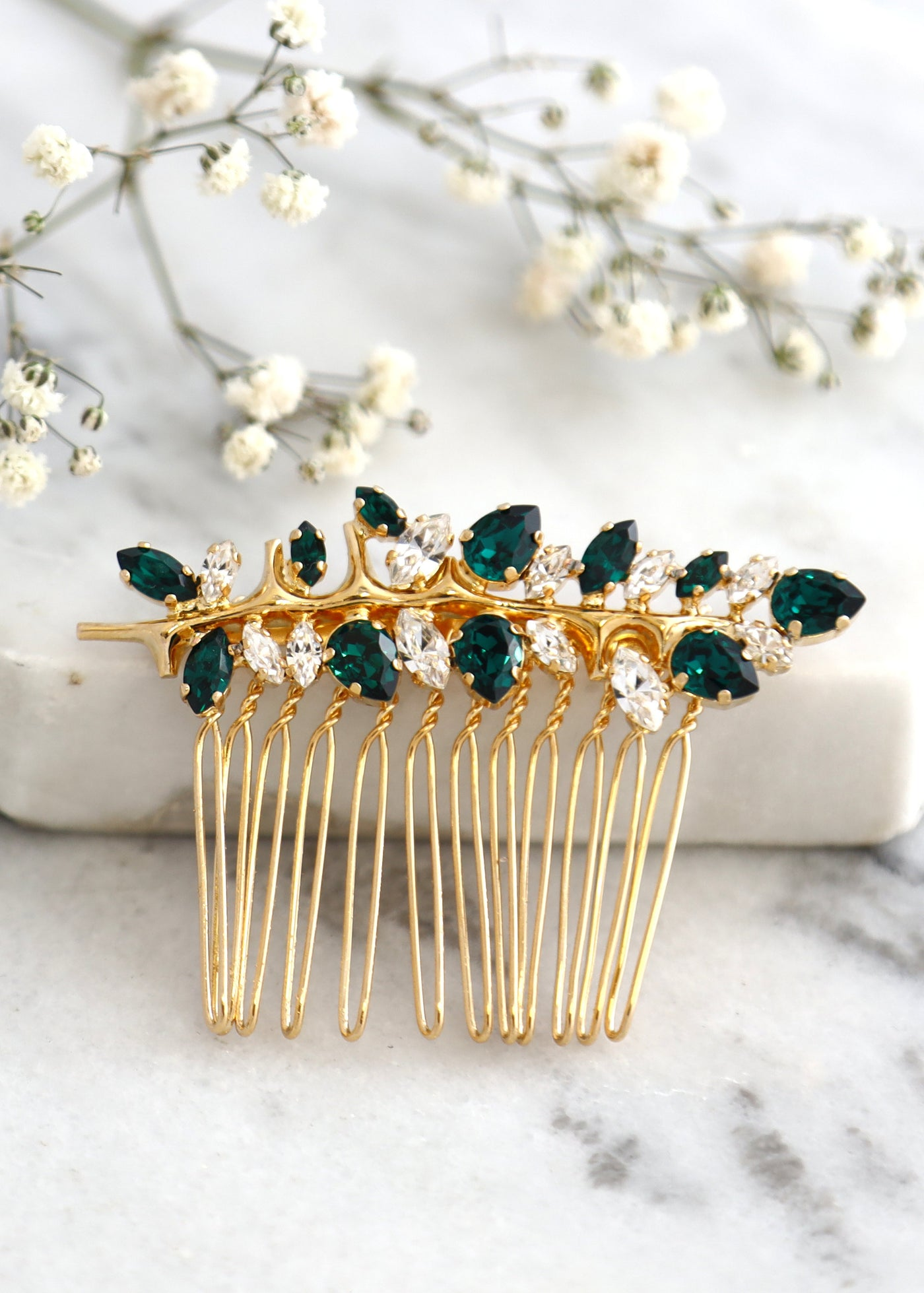 Bridal Emerald Green Hair Comb, Swarovski Hair Crystal Comb, Emerald Hair Comb, Bridal Hair Accessories, Green Hair Comb, Bridal Hair Comb