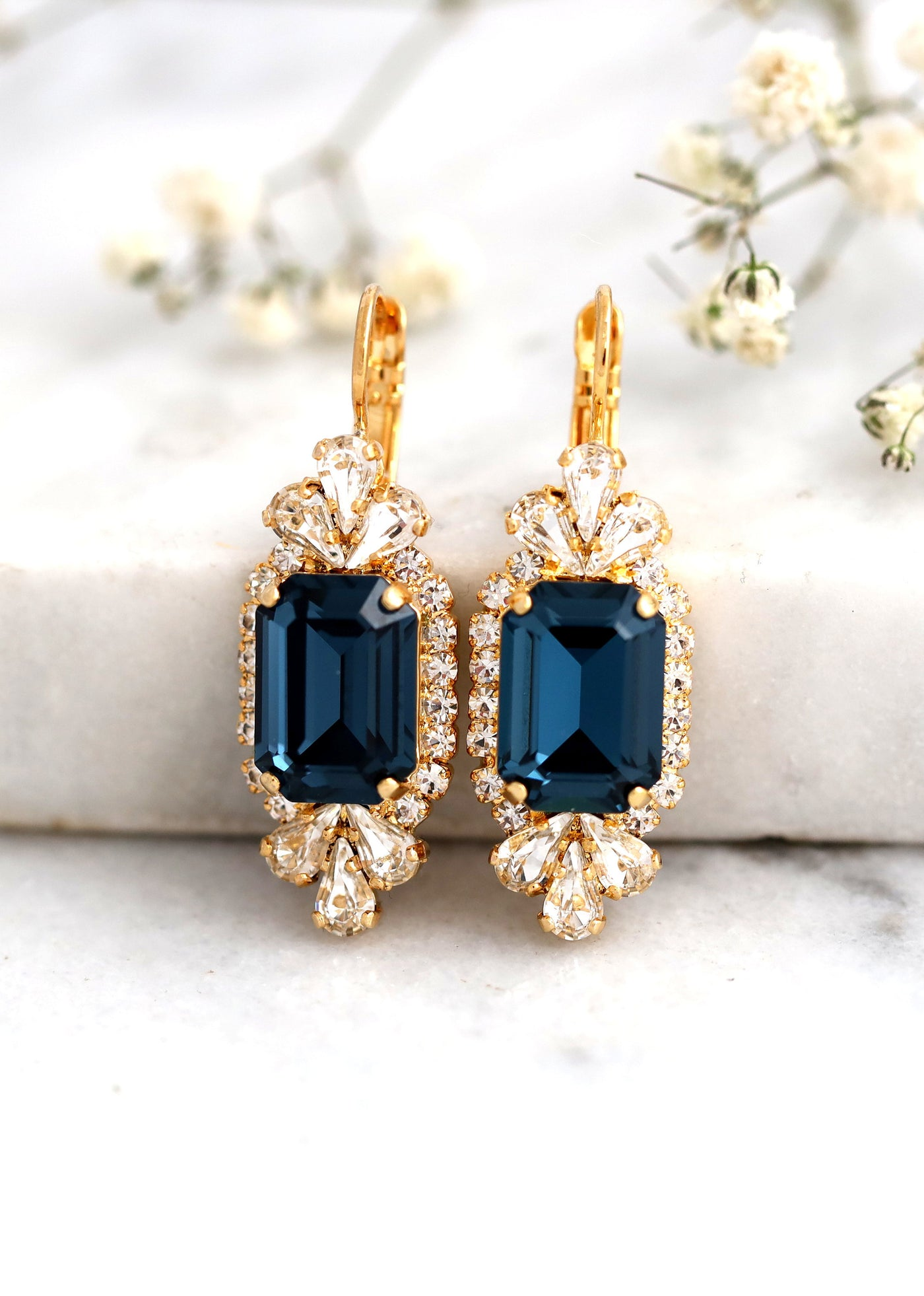 Blue Navy Earrings, Bridal Blue Navy Earrings, Dark Blue Crystal Swarovski Earrings, Bridesmaids Earrings, Emerald Cut Blue Crystal Earrings