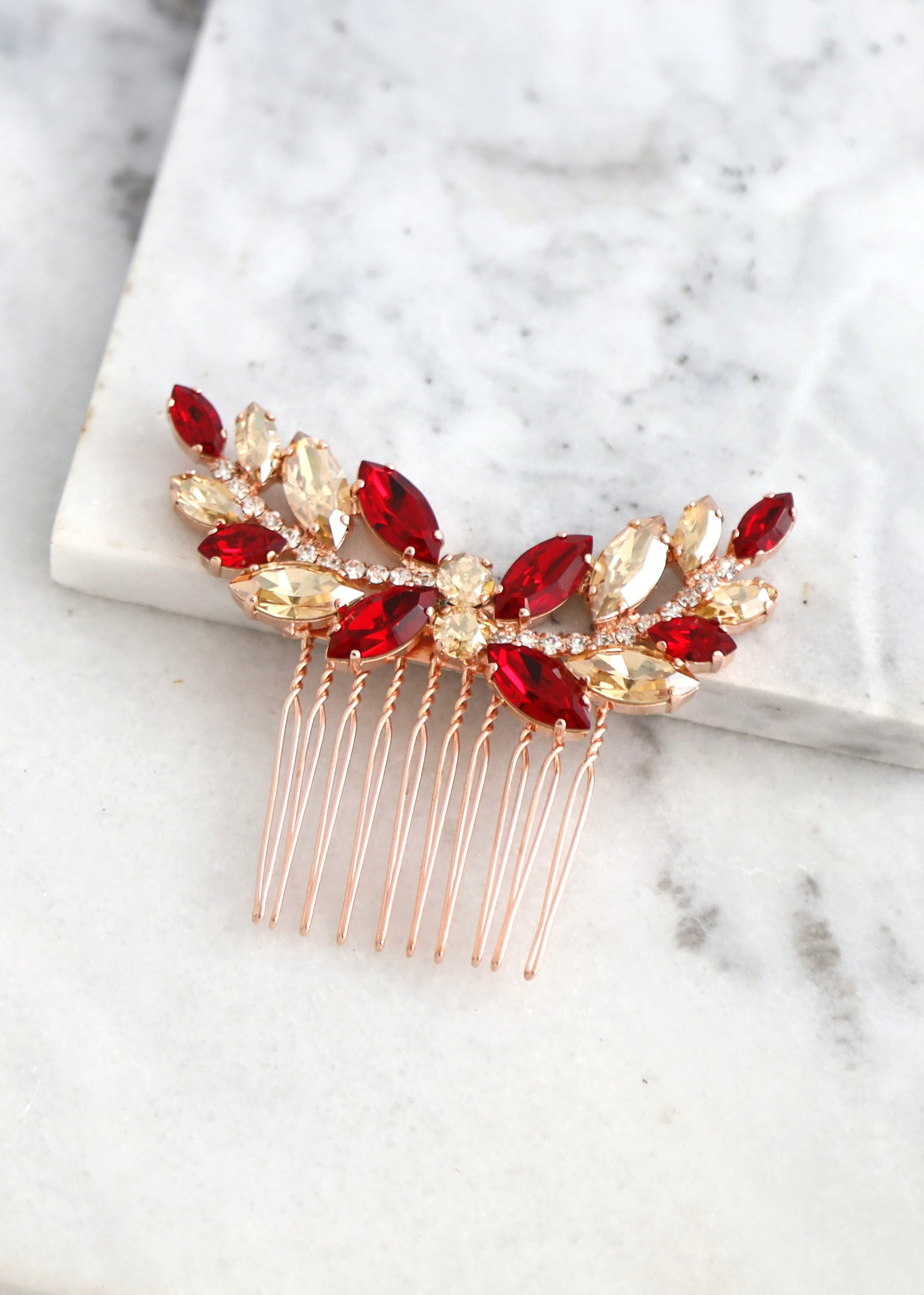 Bridal Hair Comb, Red Swarovski Hair Comb, Ruby Red Hair Comb, Bridal Hair Accessories, Garnet Red Hair Comb ,Bridal Red Ruby Hair Jewelry
