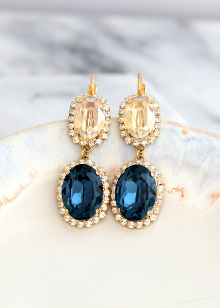 Blue Navy Earrings, Bridal Blue Navy Crystal Earrings, Blue Crystal Chandelier Earrings, Statement Long Bridal Earrings, Swarovski Earrings