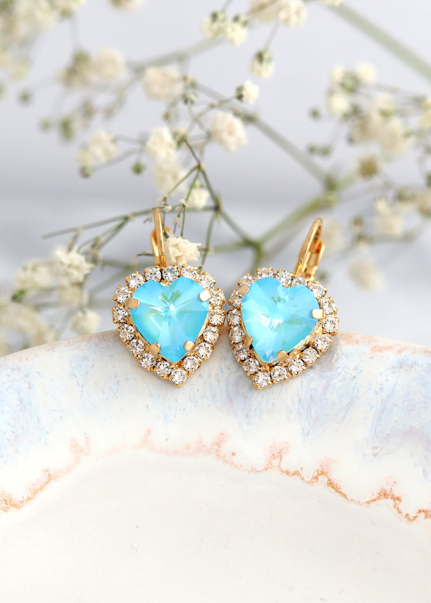 Heart Earrings, Blue Drop Earrings, Heart Drop Earrings, Sky Blue Earrings, Christmas Gift For Her, Crystal Heart Blue Bridal Earrings