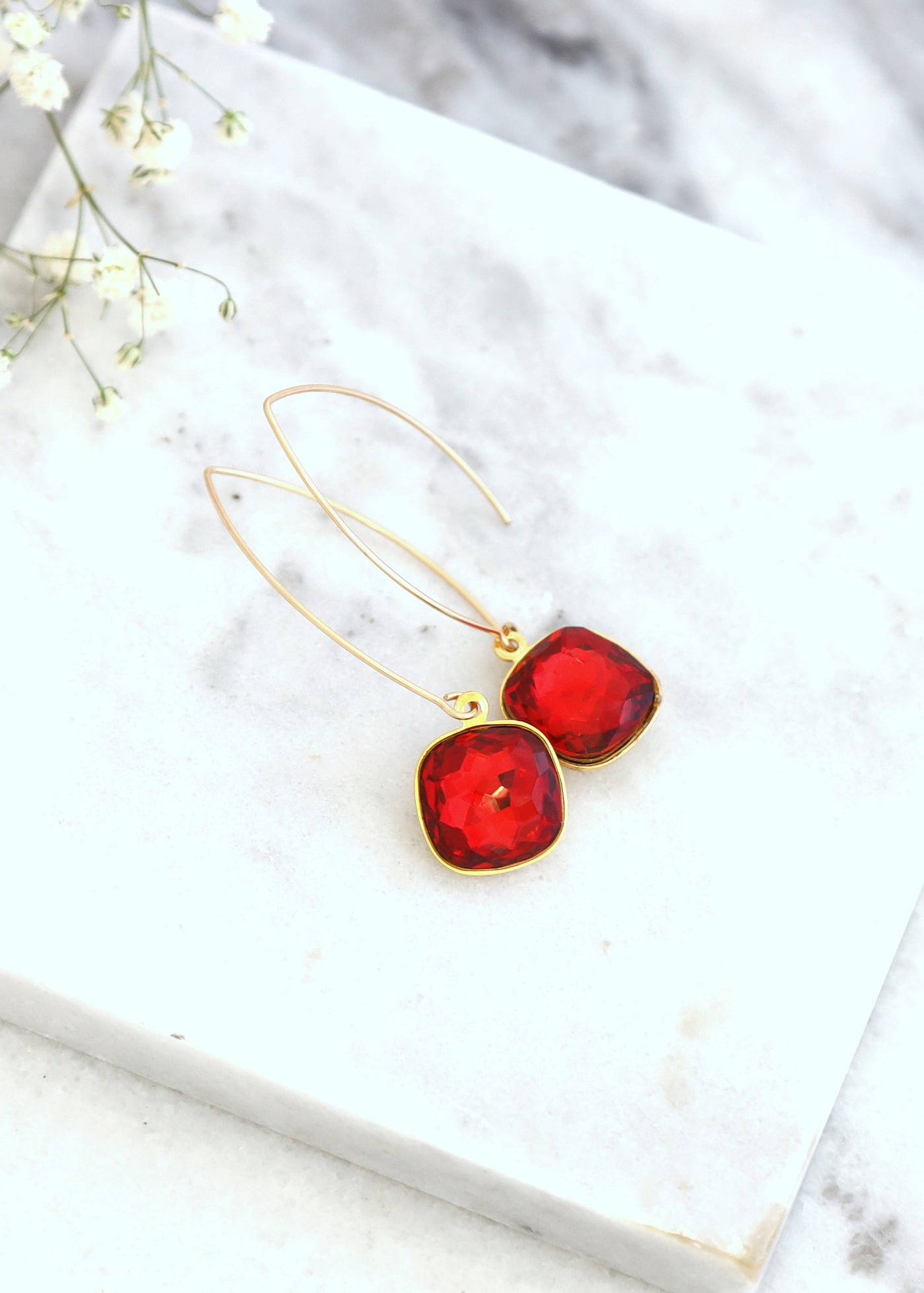 Red Drop Earrings, Ruby Red Dangle Crystal Earrings, Red Ruby Swarovski Crystal Gold Earrings, Red Goldfield LONG Earrings, Gift For Her