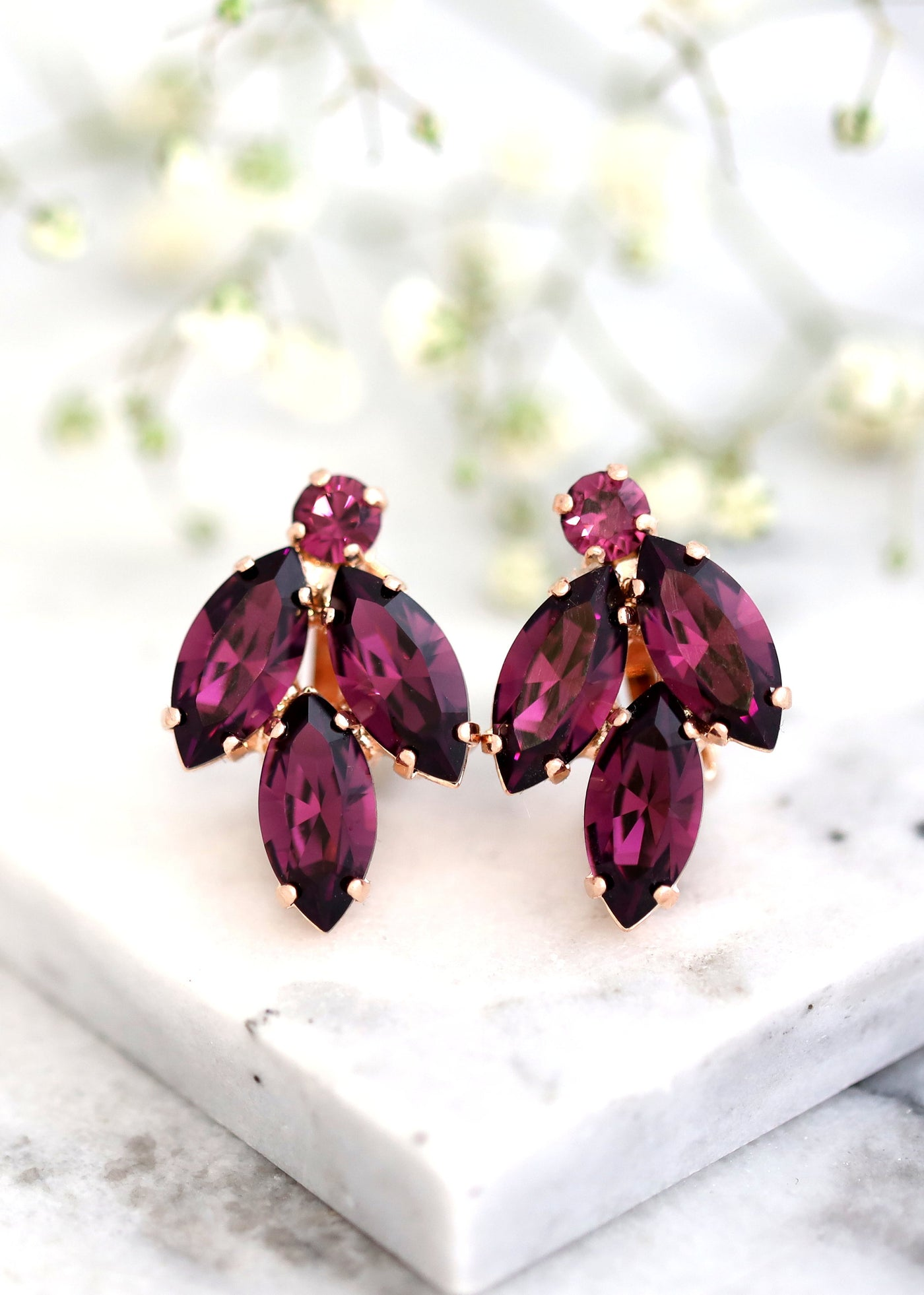 Purple Clip On Earrings, Bridal Purple Crystal Earrings, Swarovski Amethyst Earrings, Clip On Earrings, Bridesmaids Clip Ons Earrings,