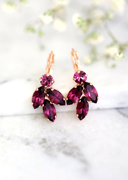 Purple Earrings, Purple Drop Earrings, Bridal Purple Crystal Drop Earrings, Amethyst Purple Drop Earrings, Bridesmaids Earrings