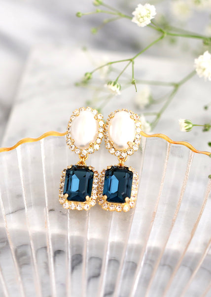 Blue Navy Earrings, Bridal Navy Blue Earrings, Navy Blue Chandelier Earrings, Swarovski Crystal Dark Blue Earrings, Pearl Blue Drop Earrings