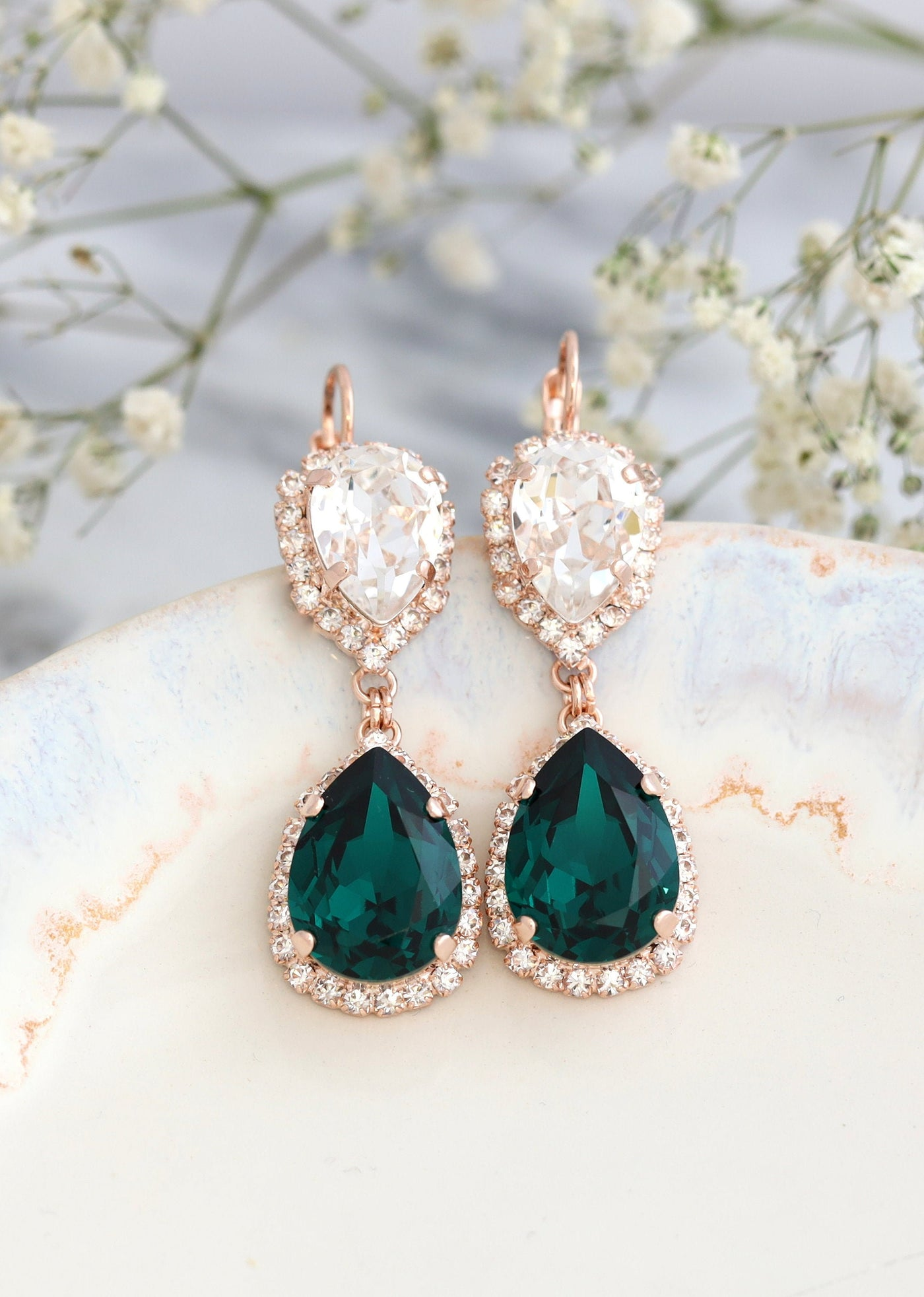 Emerald Chandelier Earrings, Bridal Emerald Drop Earrings, Green Emerald Chandelier Earrings, Emerald Crystal Swarovski Earrings.