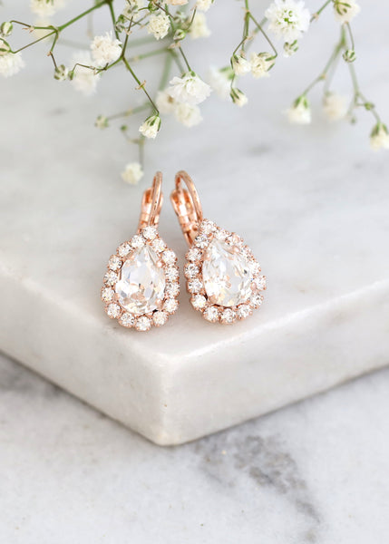Bridal Earrings, Clear Crystal Drop Earrings, Bridal Classic Droplets, Teardrop Crystal Earrings, Flower Girl Earrings, Bridesmaids Earrings