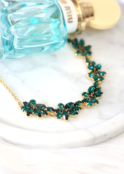 Emerald Green Necklace, Bridal Emerald Necklace, Bridal Crystal Green Necklace, Bridal Statement Swarovski Crystal Necklace, Bridal Necklace