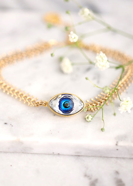 Evil Eye Bracelet, Eye Gold Bracelet, Evil Eye Jewelry, Protection Bracelet, Gift For Her, Good Luck Bracelet, Blue Eye Gold Bracelet