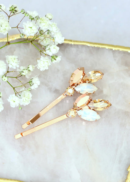 Bridal Hair Pin, Bridal Opal Rose Gold Swarovski Bobby Pin, Bridal Crystal Bobby Pin, Wedding Hair Jewelry, Crystal Bridal Hair Jewelry