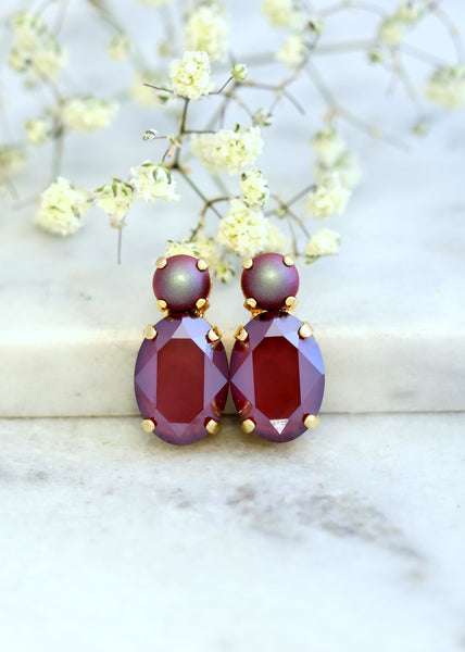 Maroon Stud Earrings, Bridal Maroon Earrings, Dark Red Crystal Stud Earrings, Maroon Red Earrings, Bridesmaids Maroon Earrings, Gift For Her