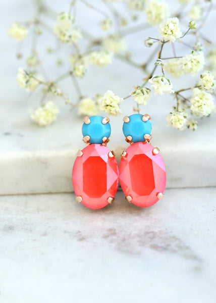 Coral Earrings, Coral Blue Stud Earrings, Burnt Orange Earrings, Orange Crystal Earrings, Coral Swarovski Earrings, Christmas Gift For Her.