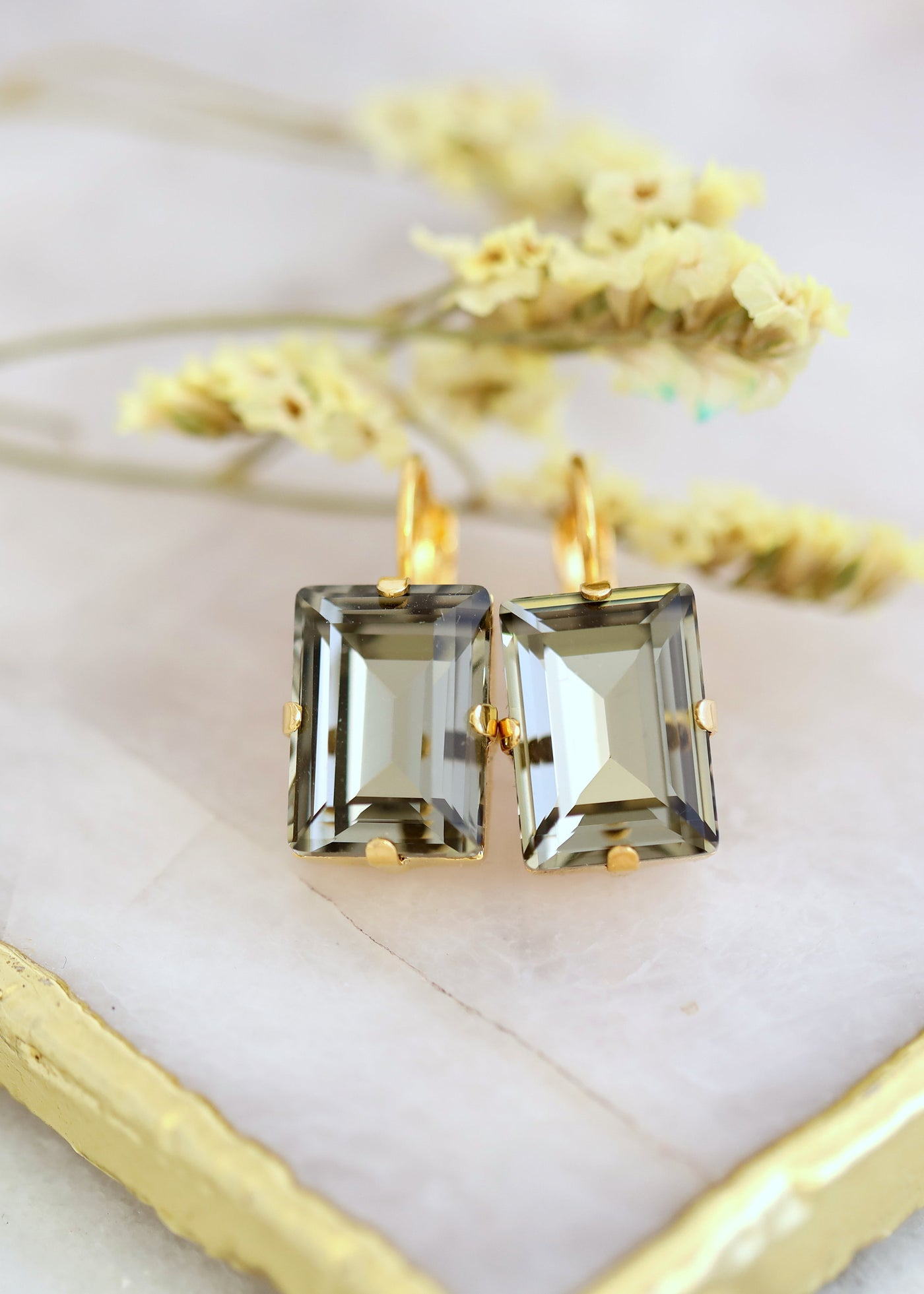 Gray Drop Earrings, Dark Gay Earrings, Bridal Gray Earrings, Gray Crystal Earrings, Gift For Her, Bridesmaids Earrings, Emerald Cut Earrings