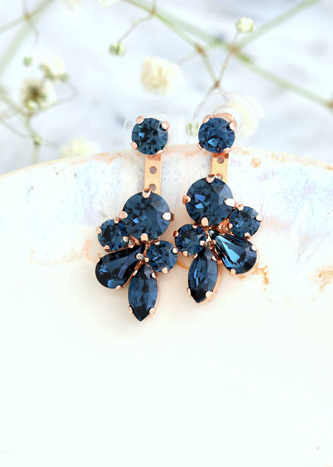 Blue Navy Earrings, Ear Jacket Earrings, Bridal Ear Jacket Earrings, Navy Blue Crystal Swarovski Earrings, Bridal Blue  Navy Stud Earrings