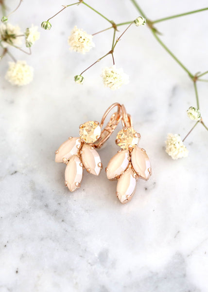 Ivory Gold Earrings, Ivory Beige Drop Crystal Earrings, Ivory Cream Swarovski Crystal Earrings, Bridesmaids Earrings, Bridal Ivory Earrings