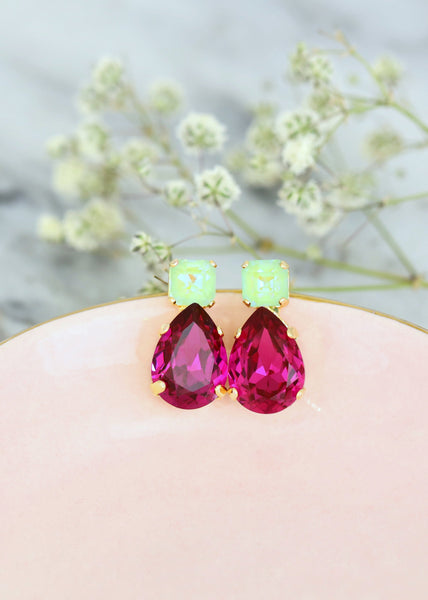 Fuchsia Pink Earrings, Pink Green Earrings, Fuchsia Green Earrings, Bridal Fuchsia Earrings, Hot Pink Earrings, Fuschia Green Stud Earrings