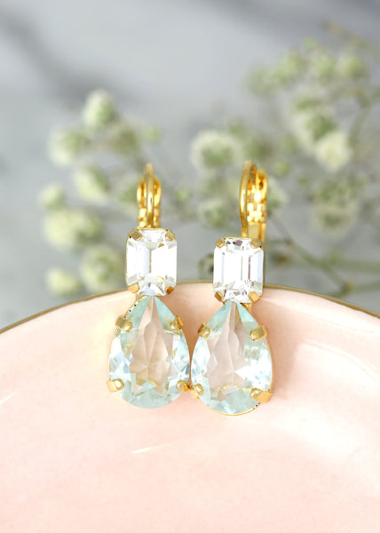 Aquamarine Earrings, Light Blue Drop Earrings, Aquamarine Teardrop Crystal Swarovski Earrings, Bridesmaids Earrings, Aquamarine Droplets