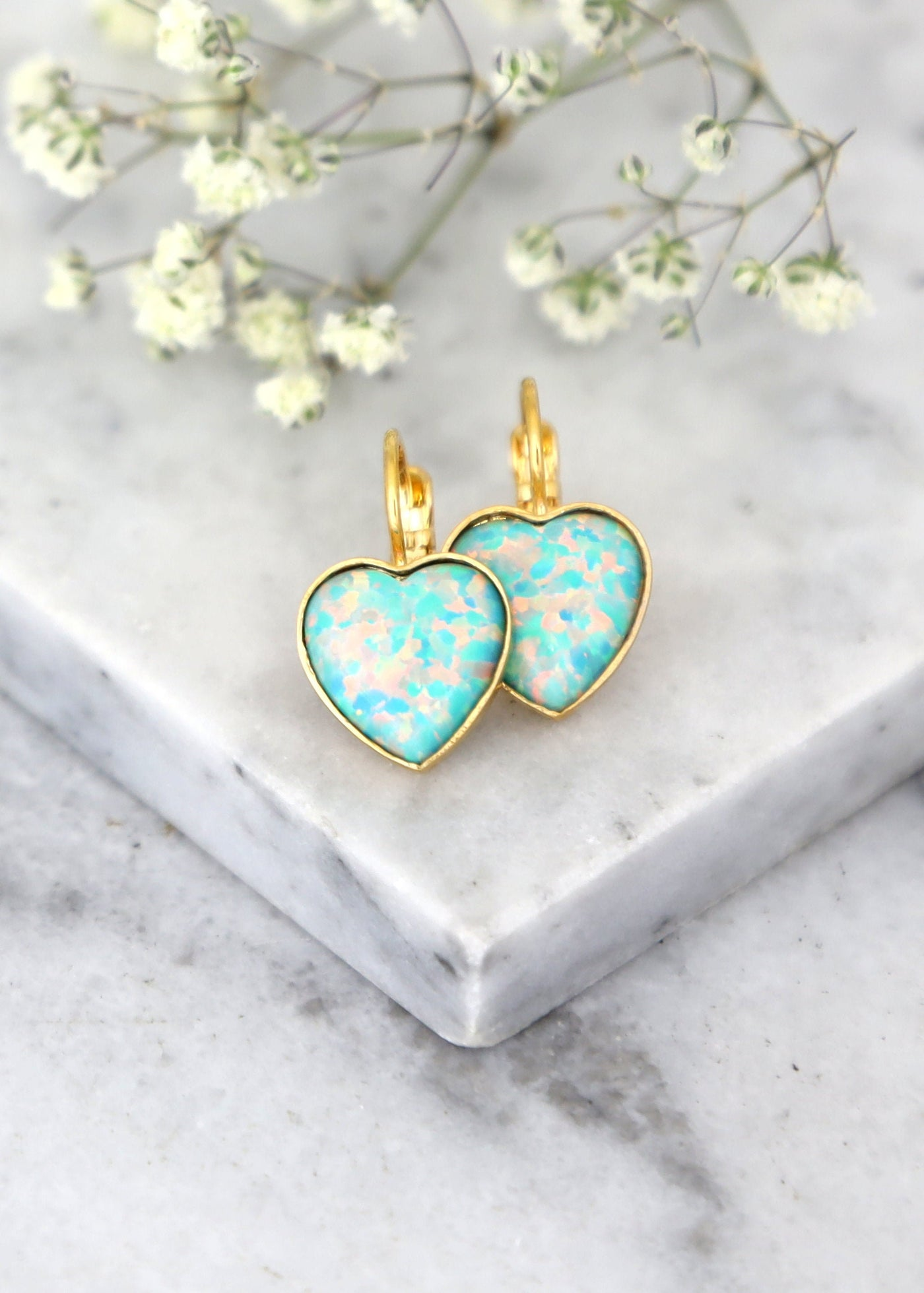 Opal Earrings, Opal Green Drop Earrings, Heart Earrings, Gift For Her, Opal Drop Earrings, Mint Opal Heart Gold Earrings, Heart Jewelry