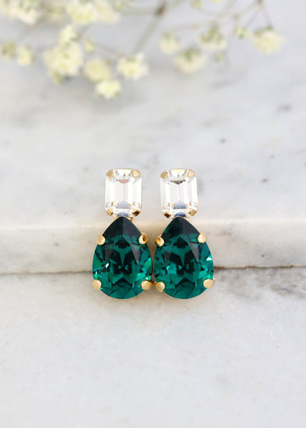 Emerald Green Stud Earrings, Bridal Green Earrings, Green Stud Earrings, Bridal Emerald Earrings, Christmas Earrings, Bridesmaids Earrings