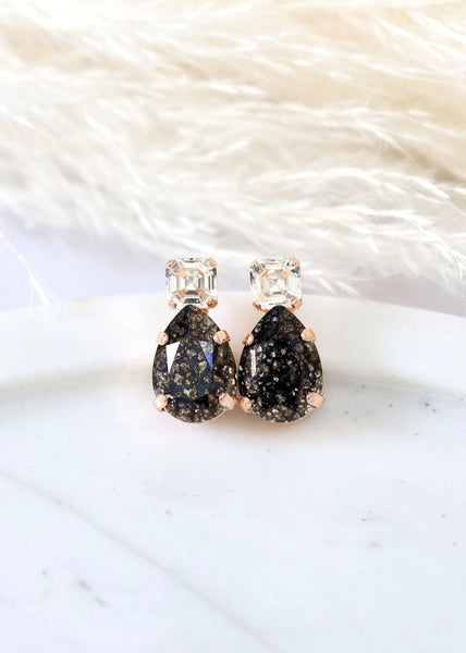 Black Earrings, Dark Gray Stud Earrings, Black Gold Stud Earrings, Gift For Her, Bridesmaids Earrings, Black Crystal Swarovski Earrings