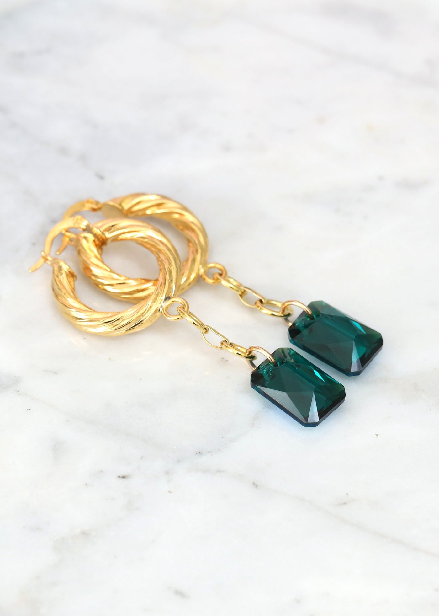 Emerald Earrings, Emerald Drop Earrings, Gold Hoop Earrings, Green Crystal Earrings, Oversize Hoop Earrings, Boho Earrings, Hoop Earrings