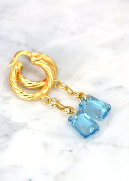 Aquamarine Gold Earrings, Aquamarine Drop Earrings, Gold Hoop Earrings, Light Blue Crystal Earrings, Oversize Hoop Earrings, Boho Earrings