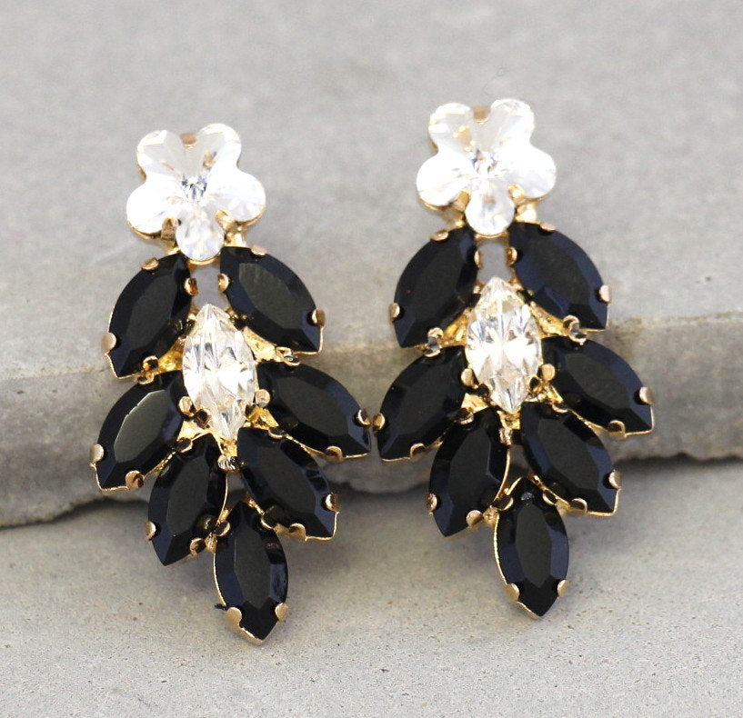 Fiona Black Crystal Swarovski Cluster Earrings