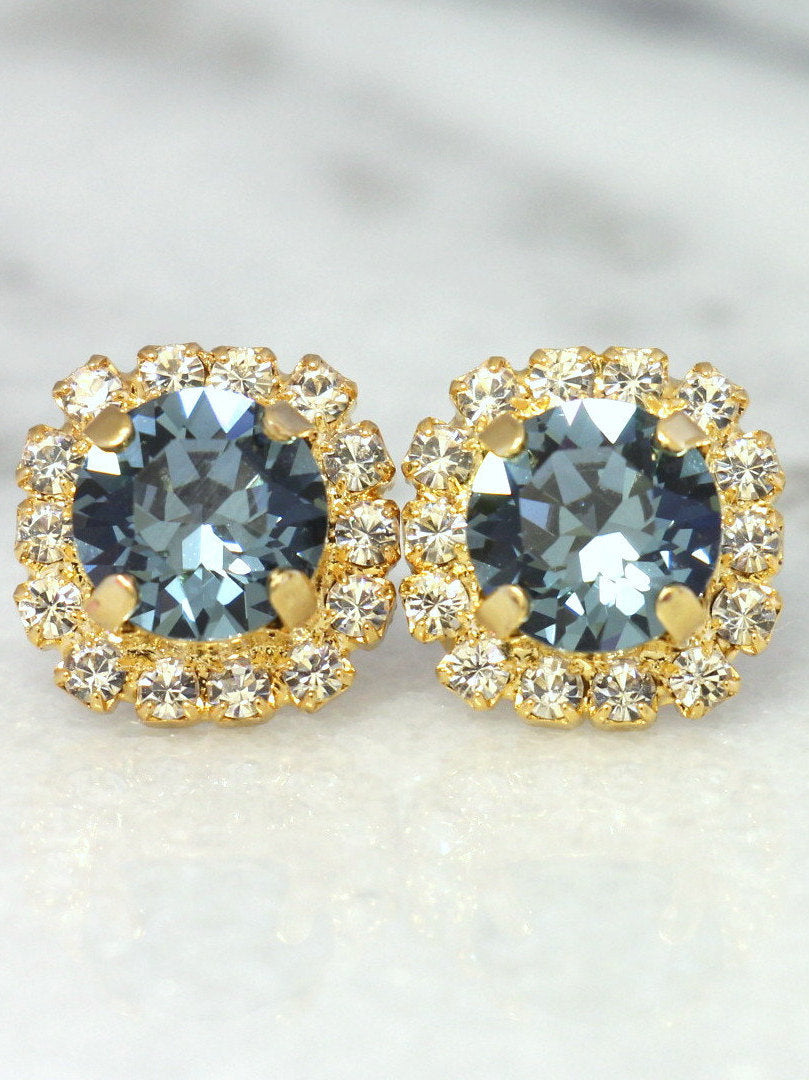 Jenny  Blue Navy Crystal Swarovski Stud Earrings