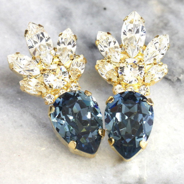 Bella Blue Navy Stud Earrings Crystal Swarovski