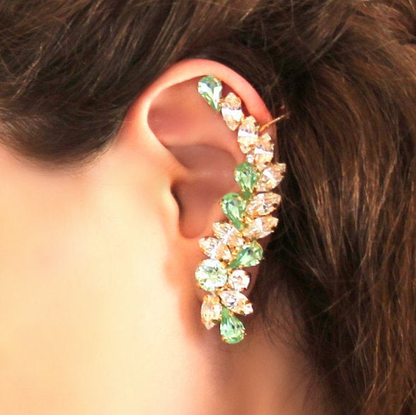 Gwen Green Mint Crystal Swarovski Climbing Earrings