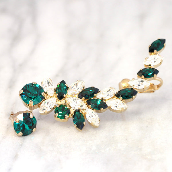 Madelen Emerald Crystal Swarovski Climbing Earrings