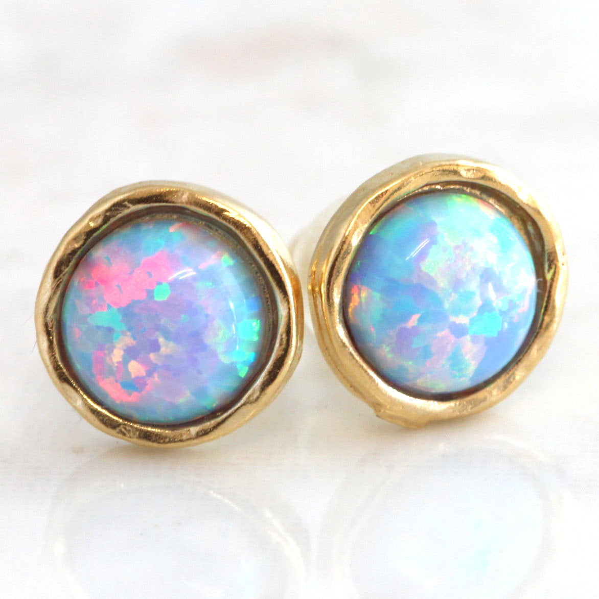 Blue Sky Opal Stud Earrings