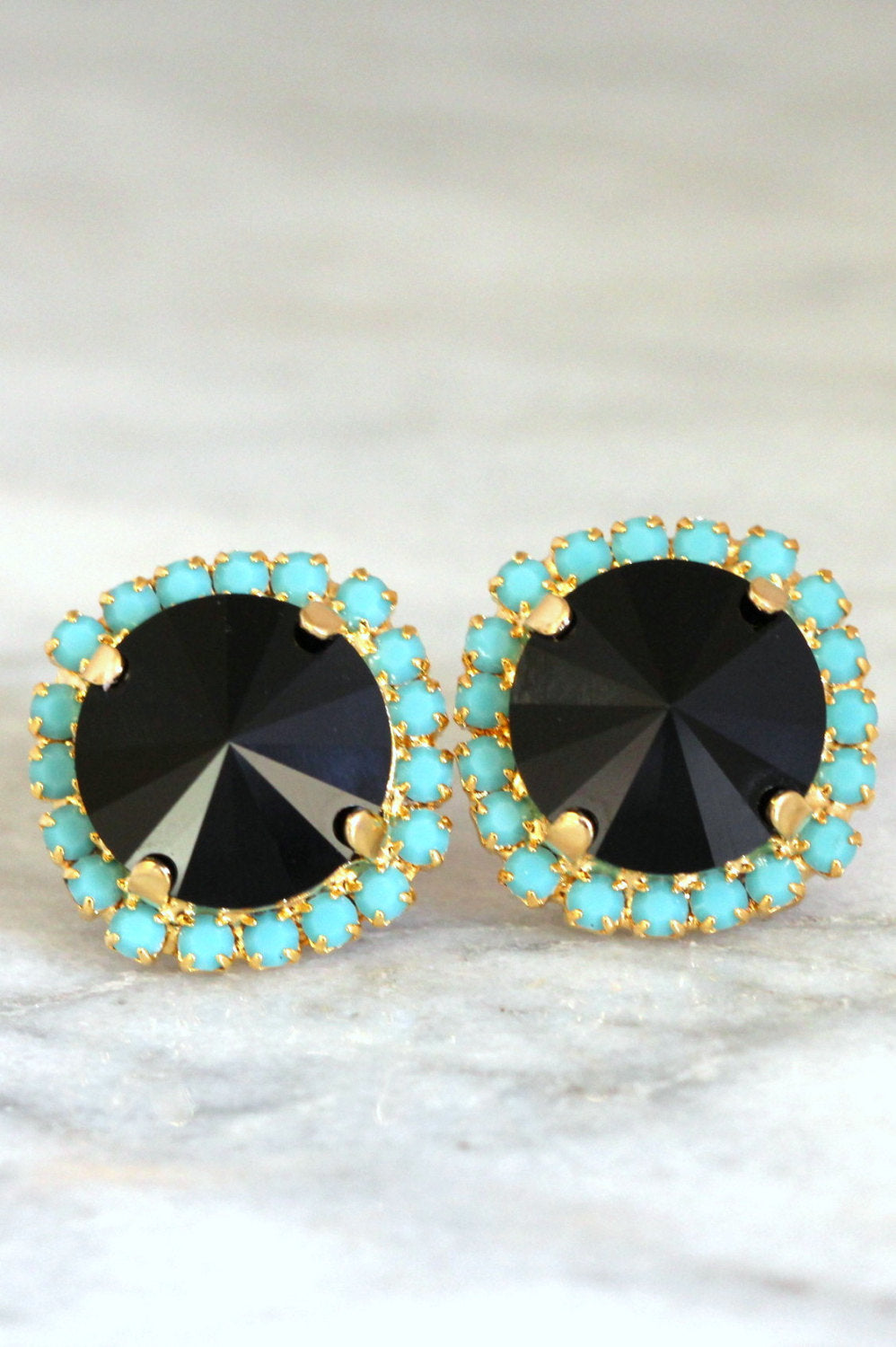 Kelly Black Turquoise Crystal Swarovski Stud Earrings