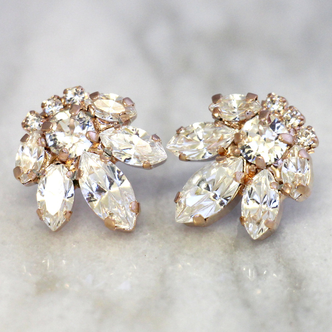 Bell Clear Crystal Swarovski Small Bridal Stud Earrings