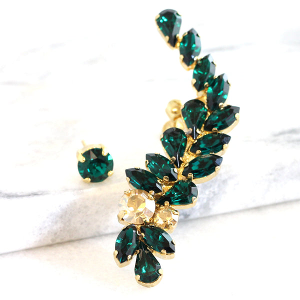 Mika Emerald Crystal Swarovski Climbing Earrings