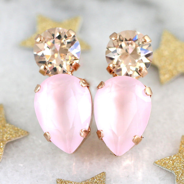 Amy Rose Quartz Crystal Swarovski Cluster Earrings