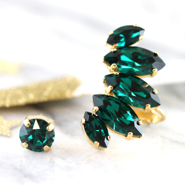 Daniel Emerald Crystal Swarovski Climbing Earrings