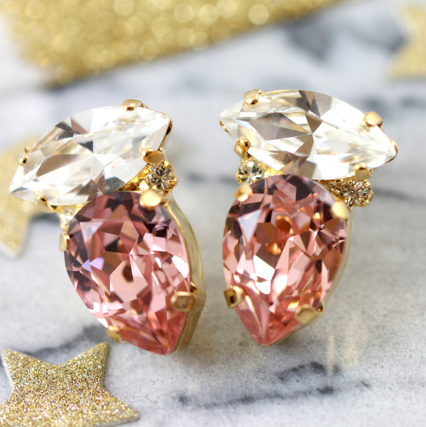 Lydia Blush Pink Crystal Swarovski Cluster Earrings