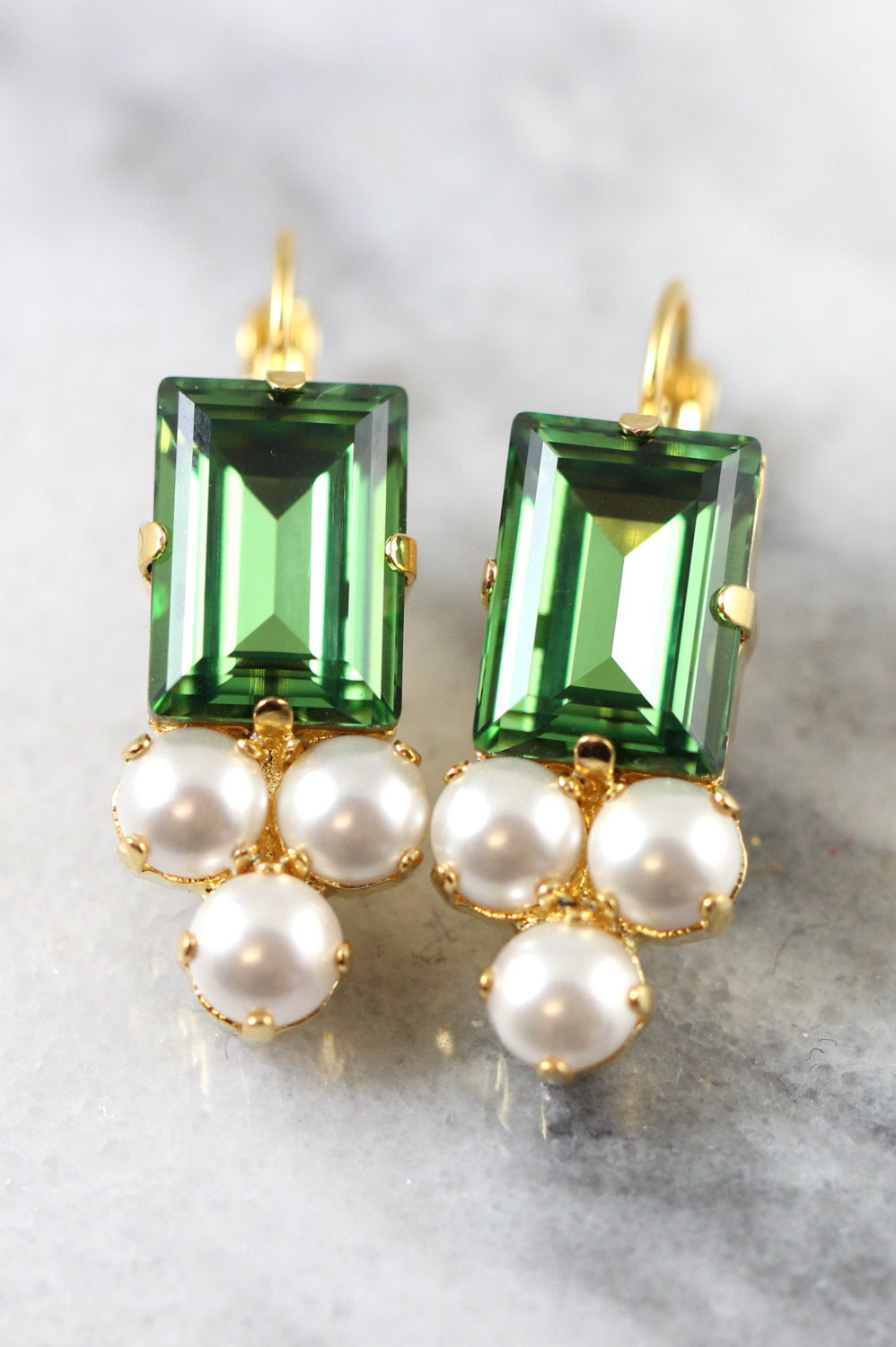 Dolly Green White Pearl Crystal Swarovski Dangle Drop Earrings