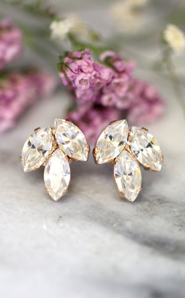 Juliet Clear Crystal Swarovski Cluster Earrings