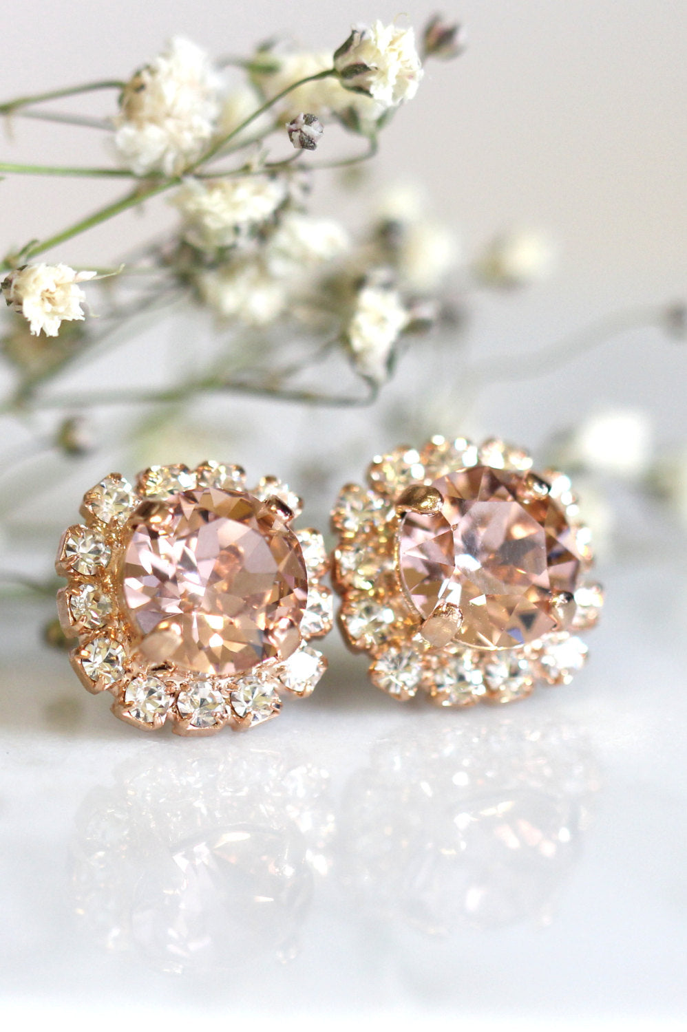 Jenny Blush Rose Crystal Swarovski Stud Earrings