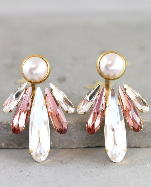 Cora Blush Pink White Pearl Crystal Swarovski Ear Jackets