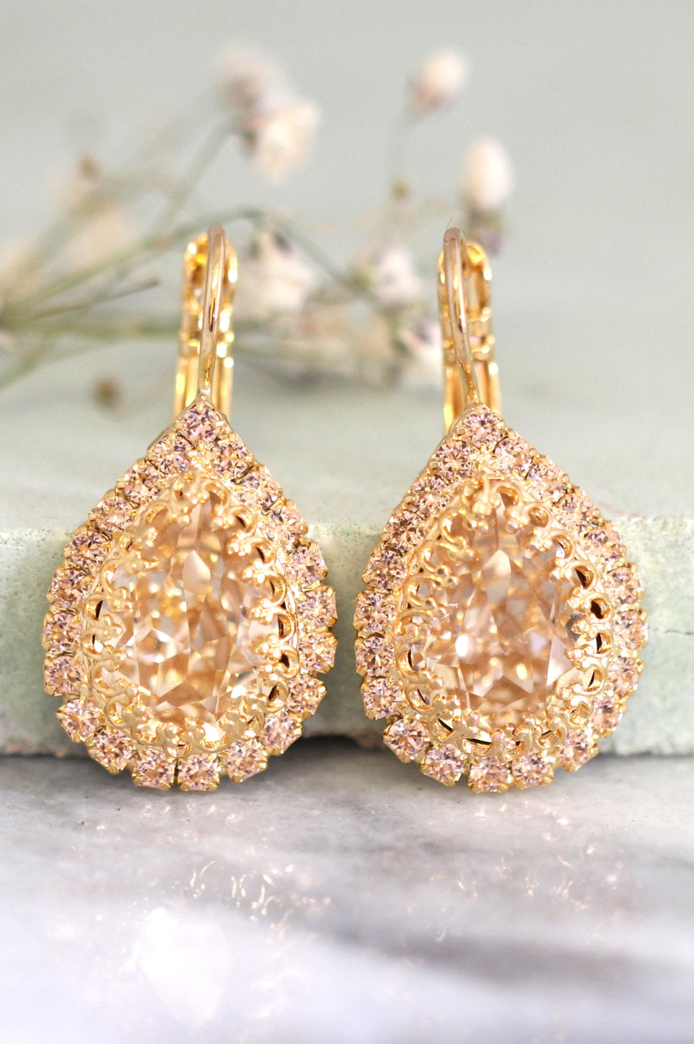 Emma Fancy Pink Crystal Swarovski Dangle Drop Earrings
