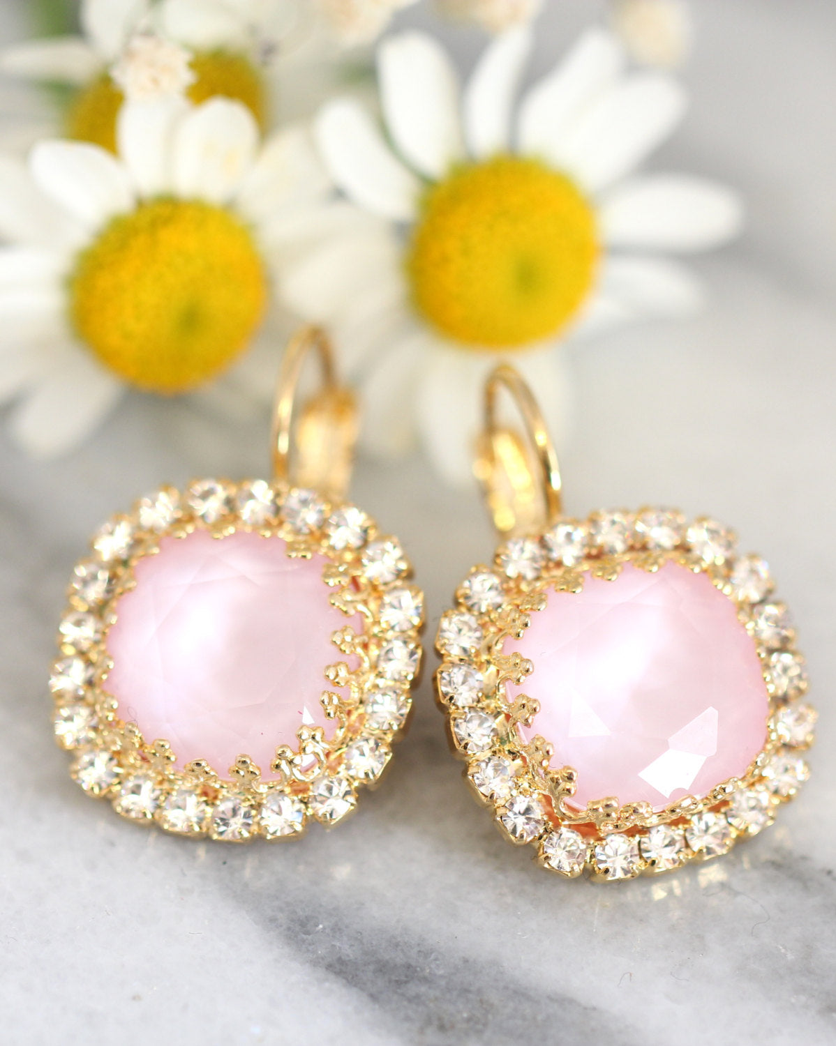Cloe Classic Rose Quartz Crystal Swarovski Dangle Drop Earrings
