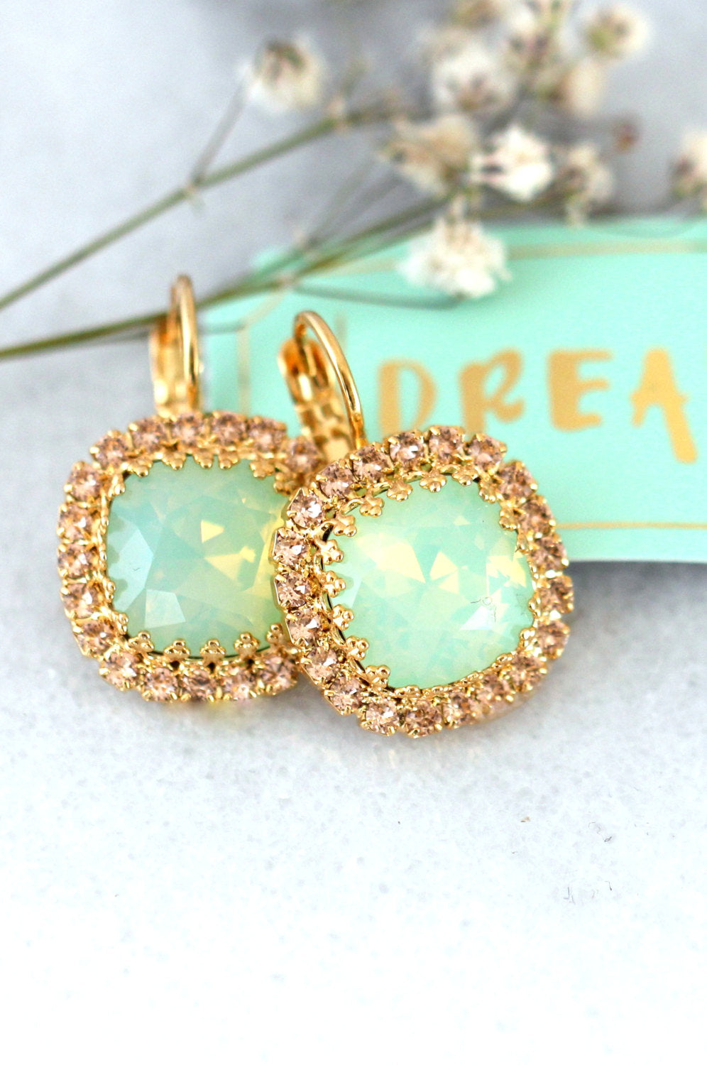 Cloe Elegant Mint Crystal Swarovski Dangle Drop Earrings