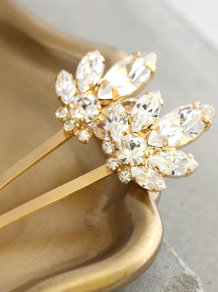 Bell Clear Crystal Swarovski Bridal Bobby Pin