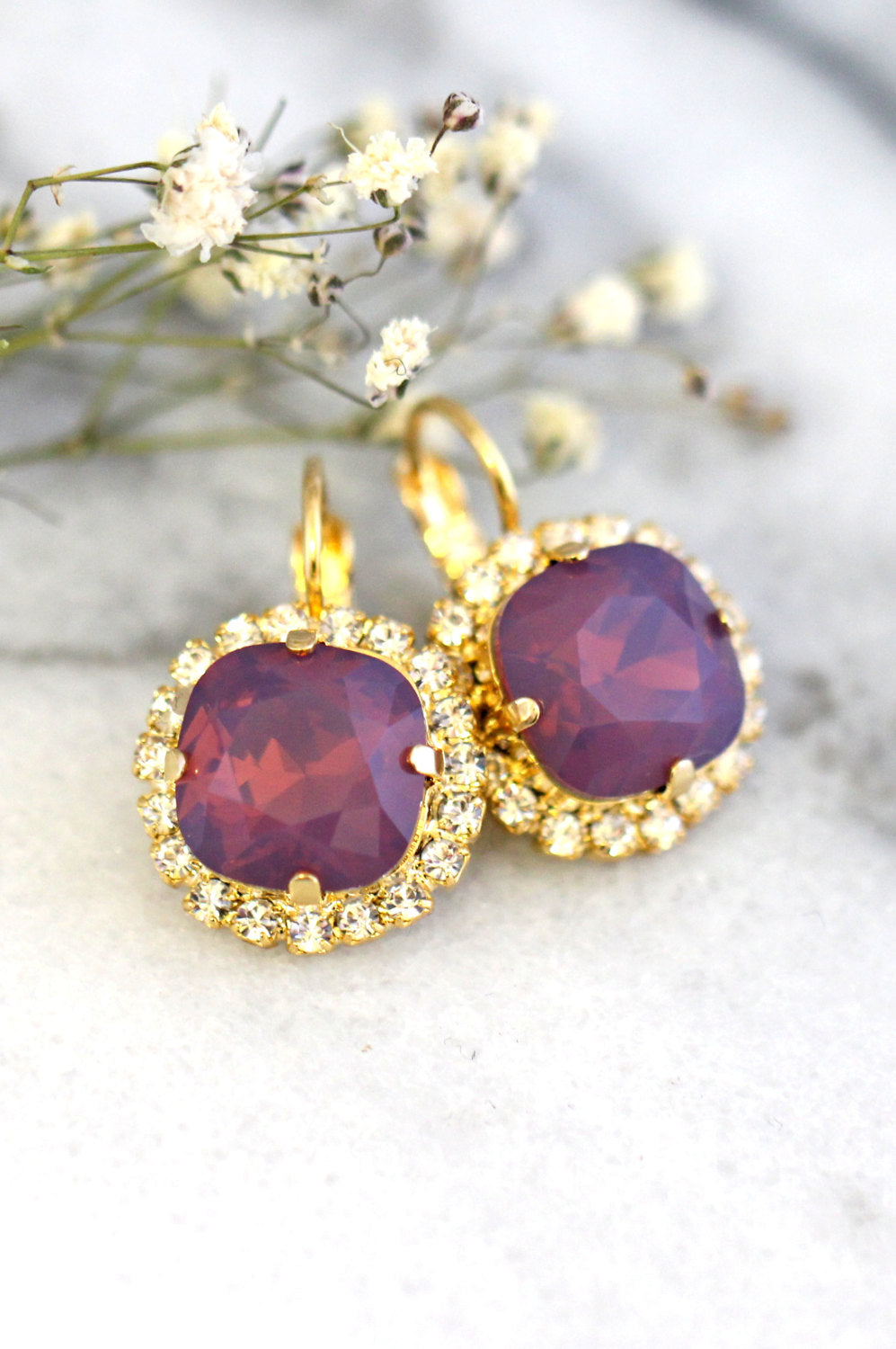 Cloe Purple Opal Crystal Swarovski Dangle Drop Earrings