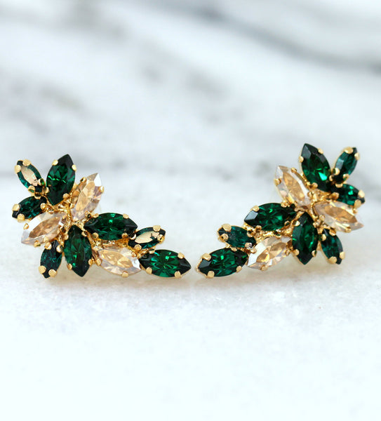 Shanty Emerald Champagne Crystal Swarovski Climbing Earrings
